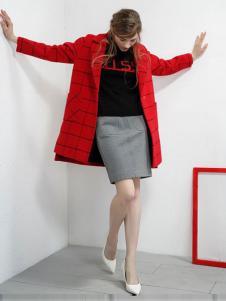 UZZU优组女装红色格纹外套