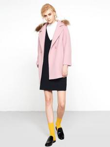UZZU优组女装粉色中长款外套