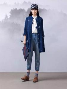 渔牌女装2017春夏新品复古中式外套