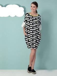 孕之彩孕妇装黑白间色女裙