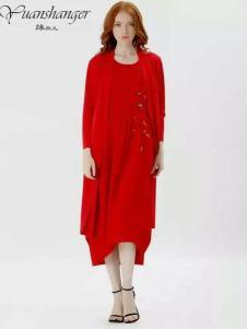 缘尚儿女装2017春夏新品红色连衣裙