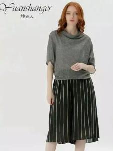 缘尚儿女装2017春夏新品条纹阔腿裤