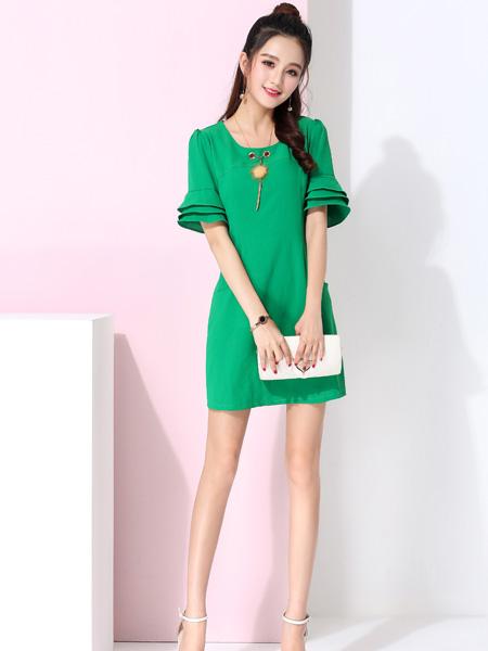 蓝缇儿17夏时尚新款绿色连衣裙