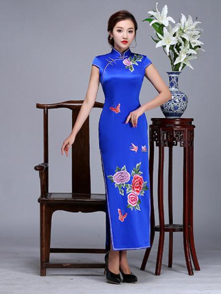虞美记高端定制蝴蝶牡丹手推绣长旗袍
