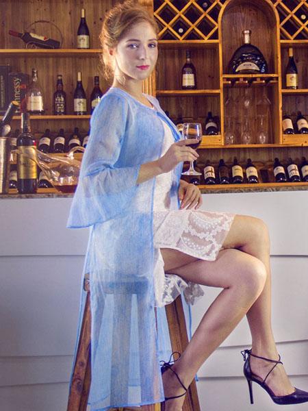 图案女装2017春夏新品蓝色外衫