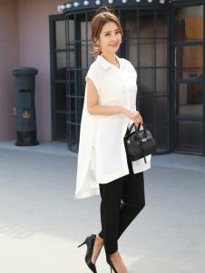 着秀女装新款无袖白色中长款T恤