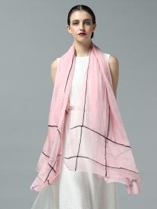 ZEAPO紫宝粉色格纹丝巾