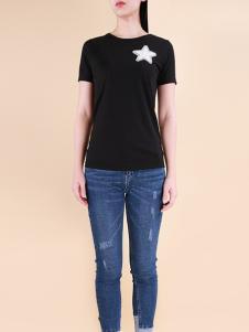 自由鸟女装2017春夏新品黑色T恤