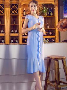 图案女装2017春夏新品蓝色连衣裙