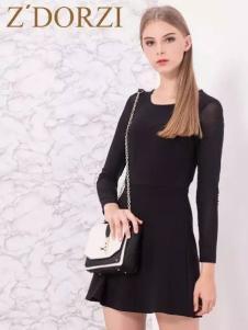 Z'DORZI卓多姿2017春夏新品收腰黑裙
