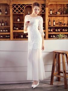 图案女装2017春夏新品白色纱裙
