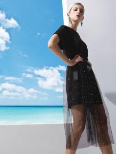 丹妮丽人黑色时尚连衣裙