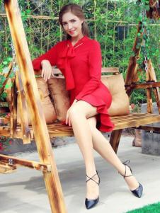图案女装2017春夏新品红色鱼尾裙