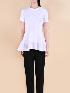 自由鸟女装2017春夏新品白T恤