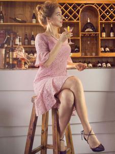图案女装2017春夏新品粉色蕾丝裙