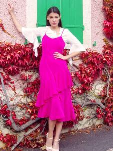 图案女装2017春夏新品枚红色吊带裙