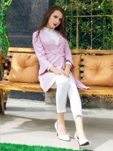 图案女装2017春夏新品粉色风衣