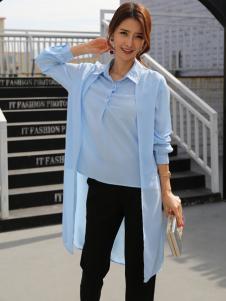 着秀女装新款浅蓝色衬衫