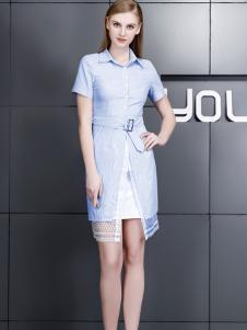依然秀17夏时尚新款修身衬衫裙