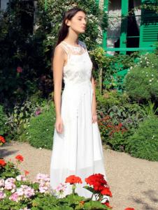 图案女装2017春夏新品白色长裙