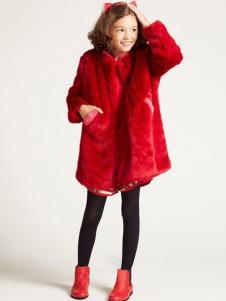 IKKI(安娜与艾伦)童装2017秋冬新品红色毛绒外套