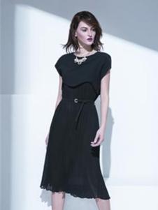 K·Fenfani凯·芬梵妮2017新品黑色收腰裙