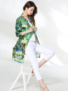 适时雅集17夏新款绿色印花开衫