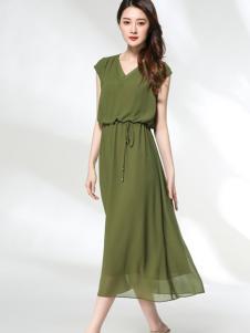 适时雅集17夏新款时尚绿色连衣裙