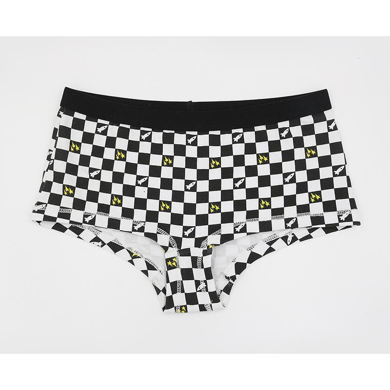 爆款纯棉女童平三角儿童内裤 G1602黑白格子女生儿童内裤批发