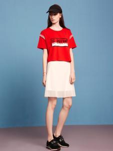 波可诺2017新款红色圆领T恤