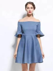 HelenModa女装2017春夏新品一字肩女裙