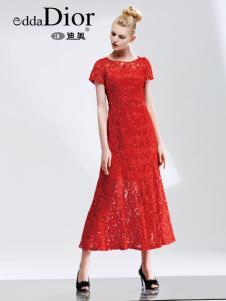eddaDior迪奥女装17红色蕾丝裙