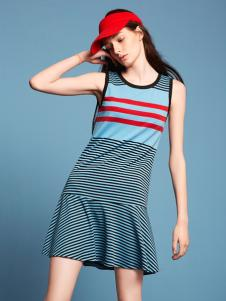 波可诺2017新款无袖圆领连衣裙