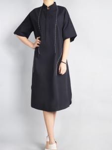 零时尚17宽松黑色连衣裙