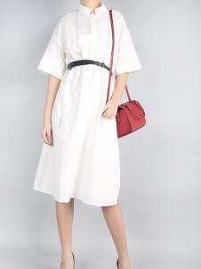 零时尚17夏白色时尚连衣裙