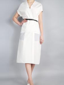 零时尚17夏白色连衣裙