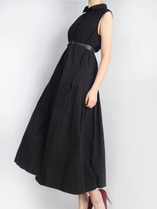 零时尚设计师风格黑色连衣裙