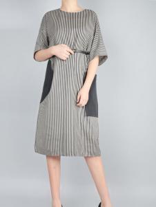 零时尚买手品牌时尚拼接连衣裙