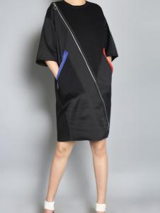 零时尚17新款黑色宽松连衣裙