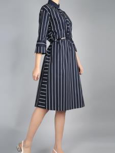 零时尚设计师风格条纹连衣裙