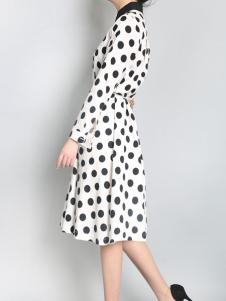 零时尚买手品牌17春波点连衣裙