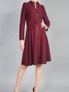 零时尚买手品牌17春酒红色连衣裙