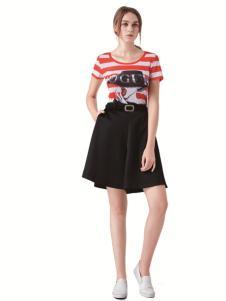 TRUGIRL楚阁新款红白条纹T恤