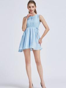 摩兰度女装摩兰度2017春夏新品蓝色连衣裙
