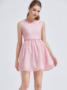 摩兰度女装摩兰度2017春夏新品粉色女裙