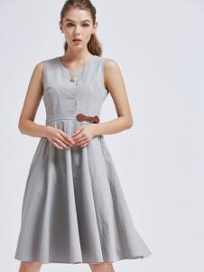 摩兰度女装摩兰度2017春夏新品灰色连衣裙