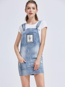 摩兰度女装摩兰度2017春夏新品牛仔背带裙
