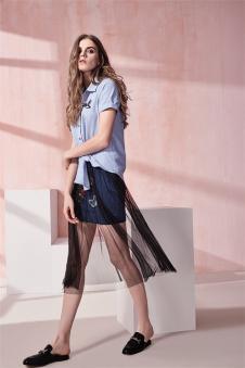 SWWVIA席薇亚2017夏装短袖衬衫