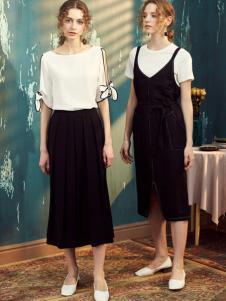 FAYEE费依2017春夏新品黑色背带裙