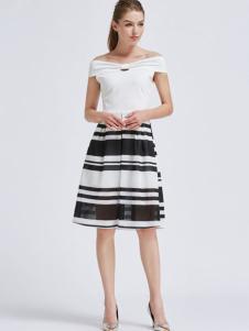 摩兰度女装摩兰度2017春夏新品条纹连衣裙